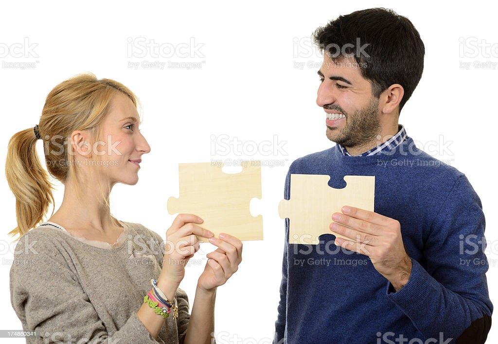 Couple Puzzle Teamwork royalty-free stock photo