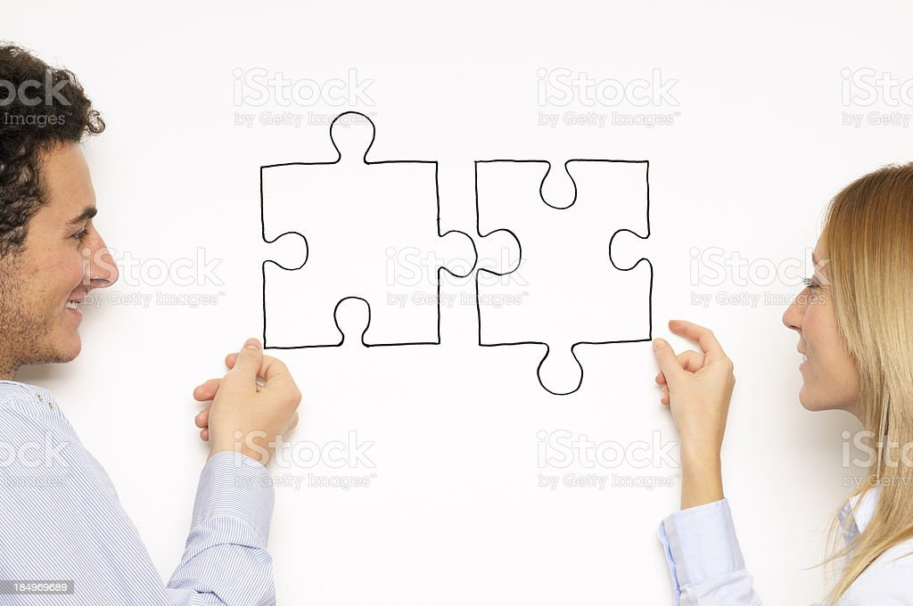 Couple Puzzle Teamwork royalty-free stock photo