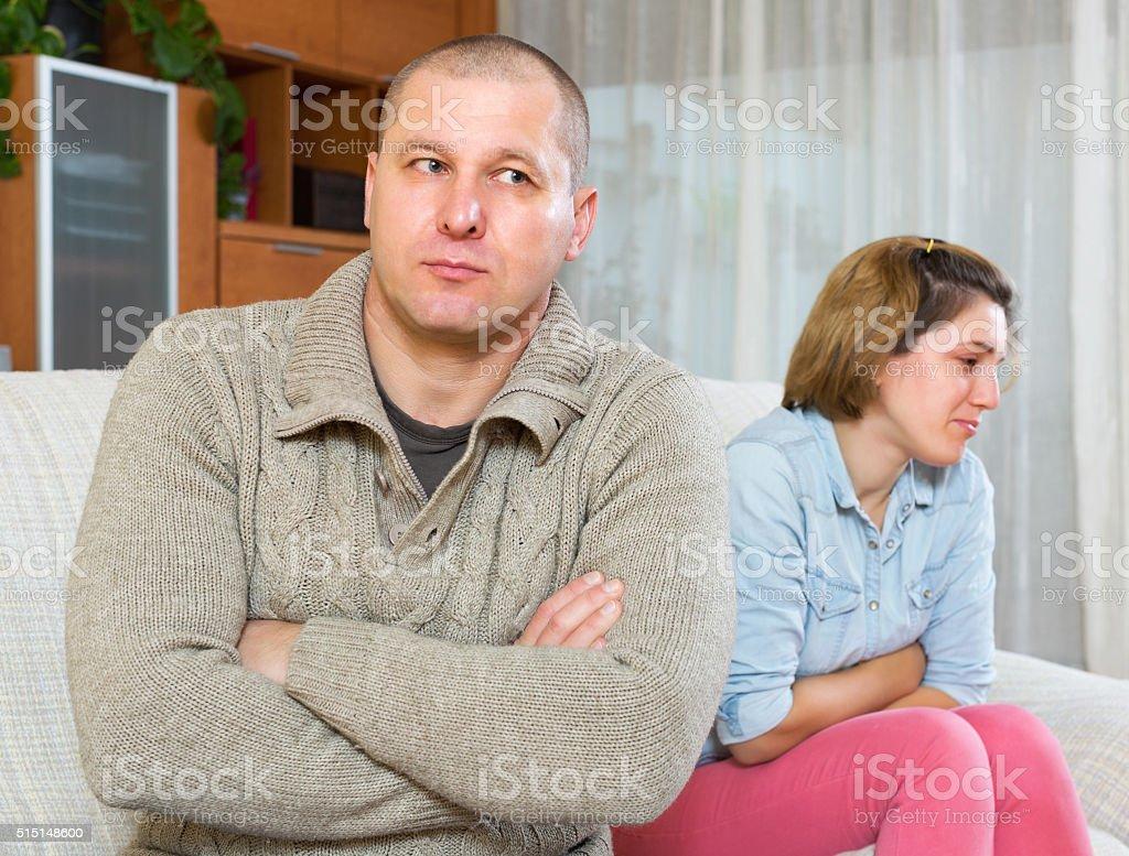 Couple quarrel stock photo