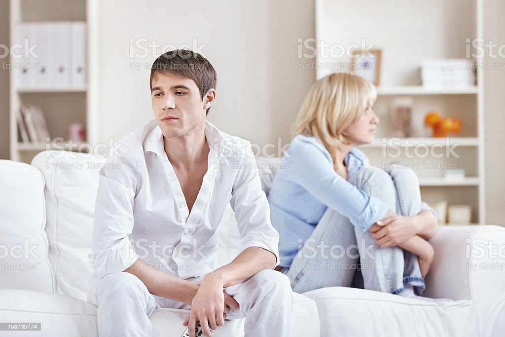 Couple quarreled at home royalty-free stock photo