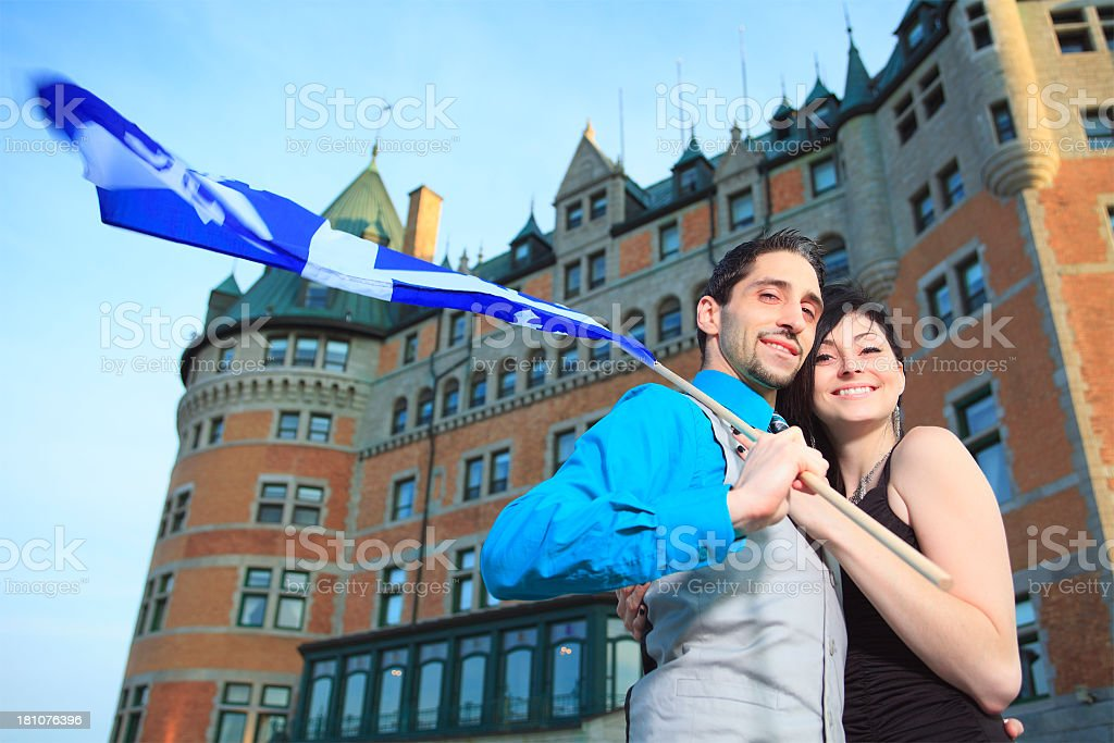 Couple - Quebec Chateau Frontenac royalty-free stock photo