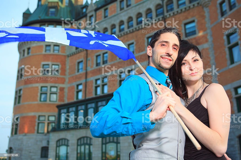 Couple Quebec - Flag Château Frontenac royalty-free stock photo