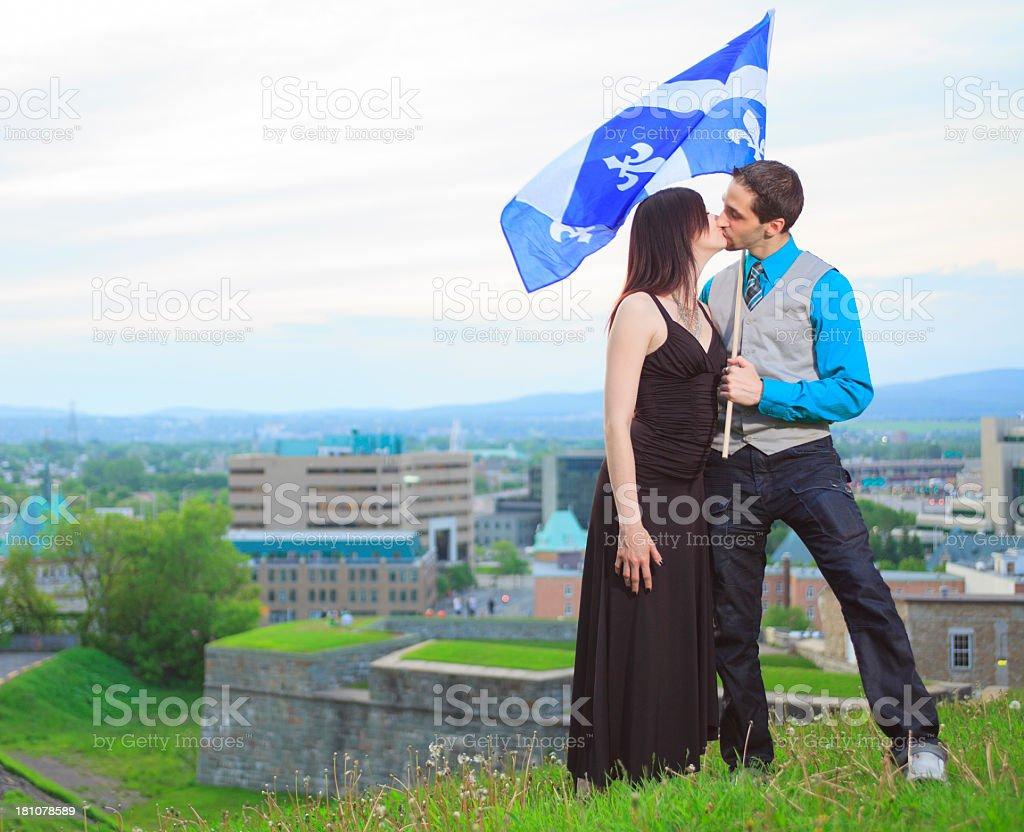 Couple Quebec - Flag City Background royalty-free stock photo