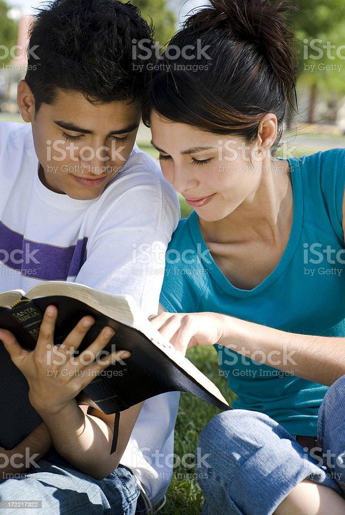 Couple reading a Bible 01 royalty-free stock photo