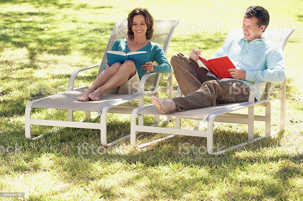 Couple reading stock photo