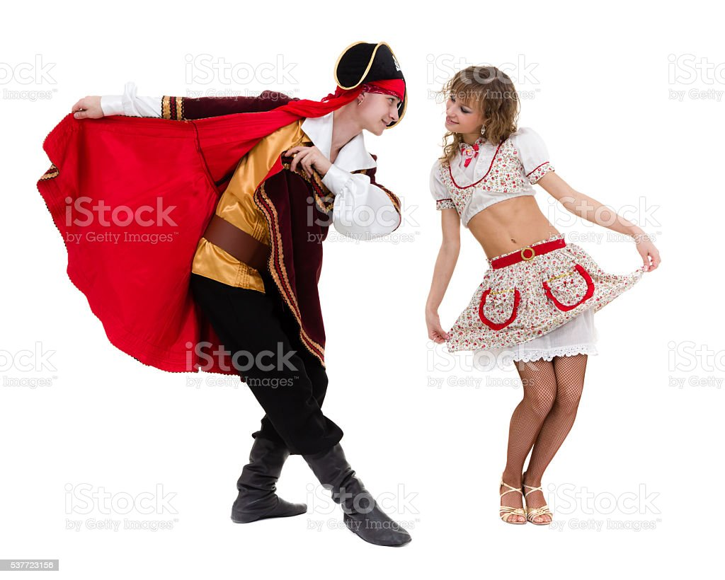 Couple ready to party on Halloween stock photo