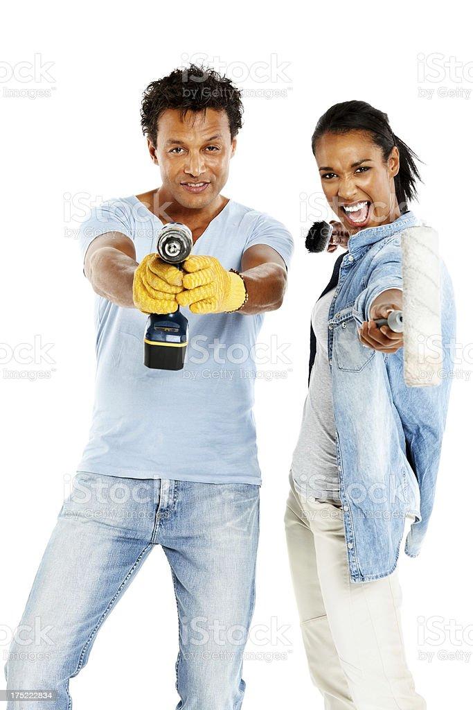 Couple ready to renovate their home royalty-free stock photo