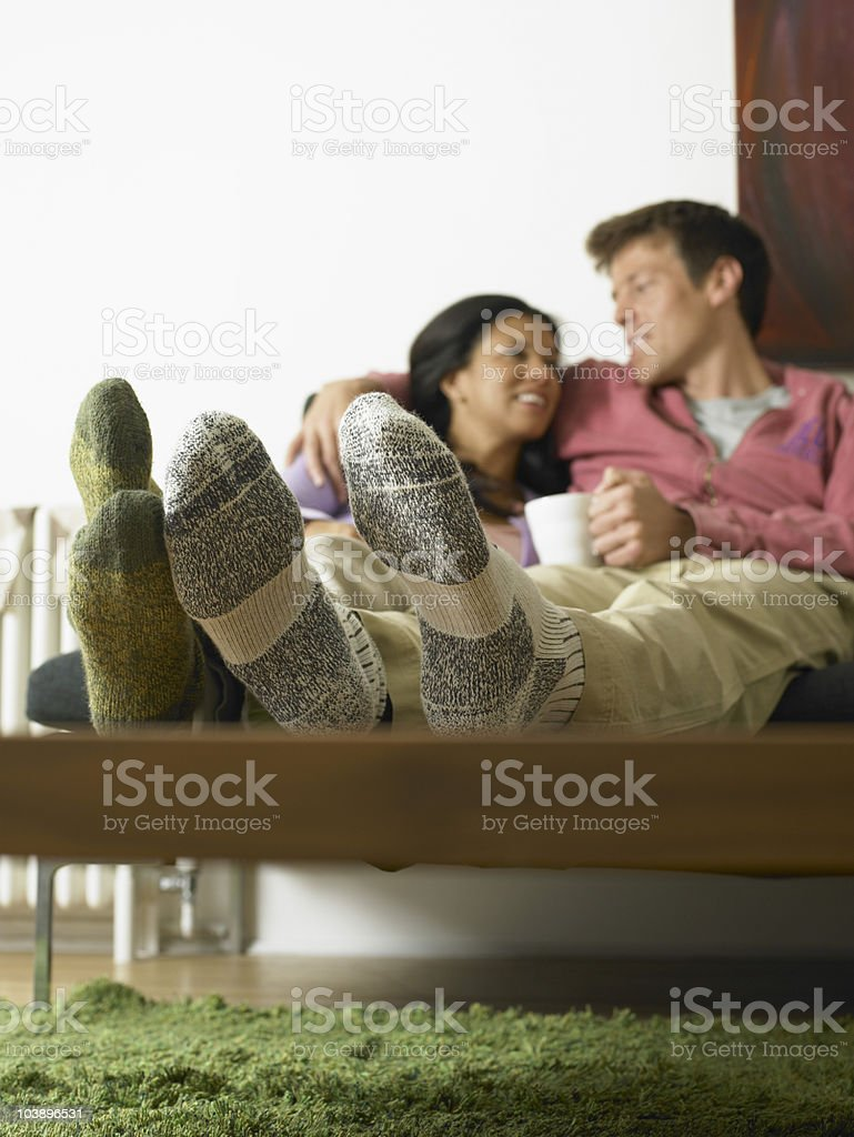 Couple relaxing at home royalty-free stock photo