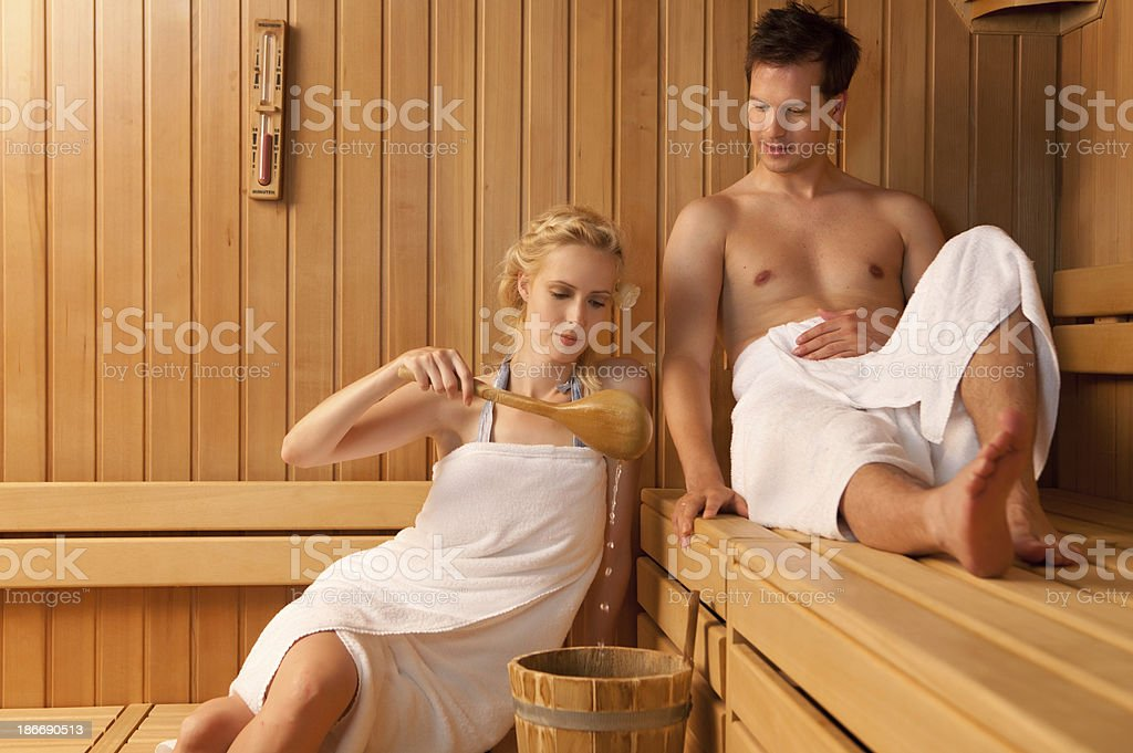 couple relaxing at sauna royalty-free stock photo