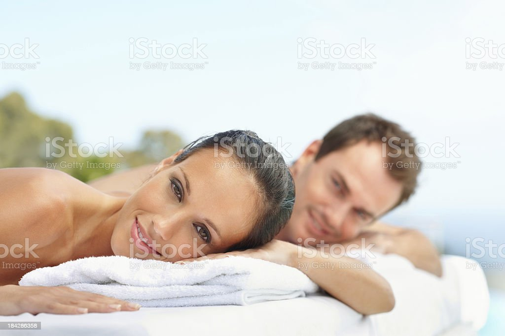 Couple relaxing at spa royalty-free stock photo