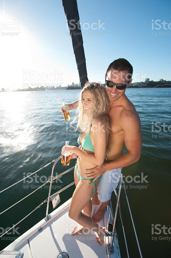 Couple relaxing on a yacht royalty-free stock photo