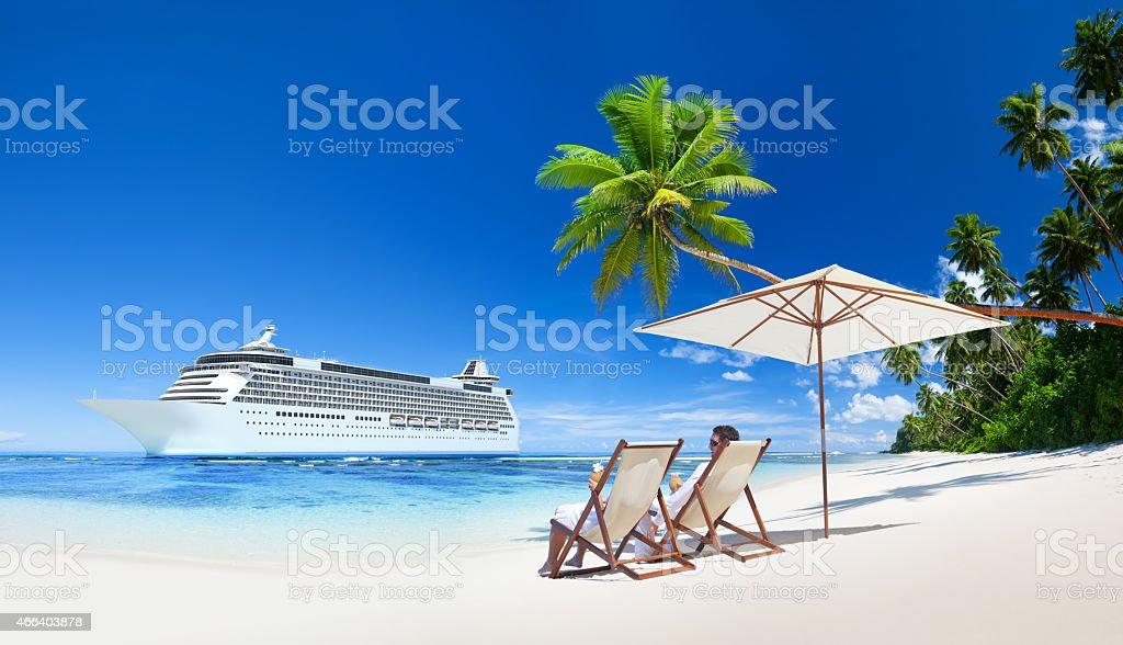 couple relaxing summer beach  concept stock photo