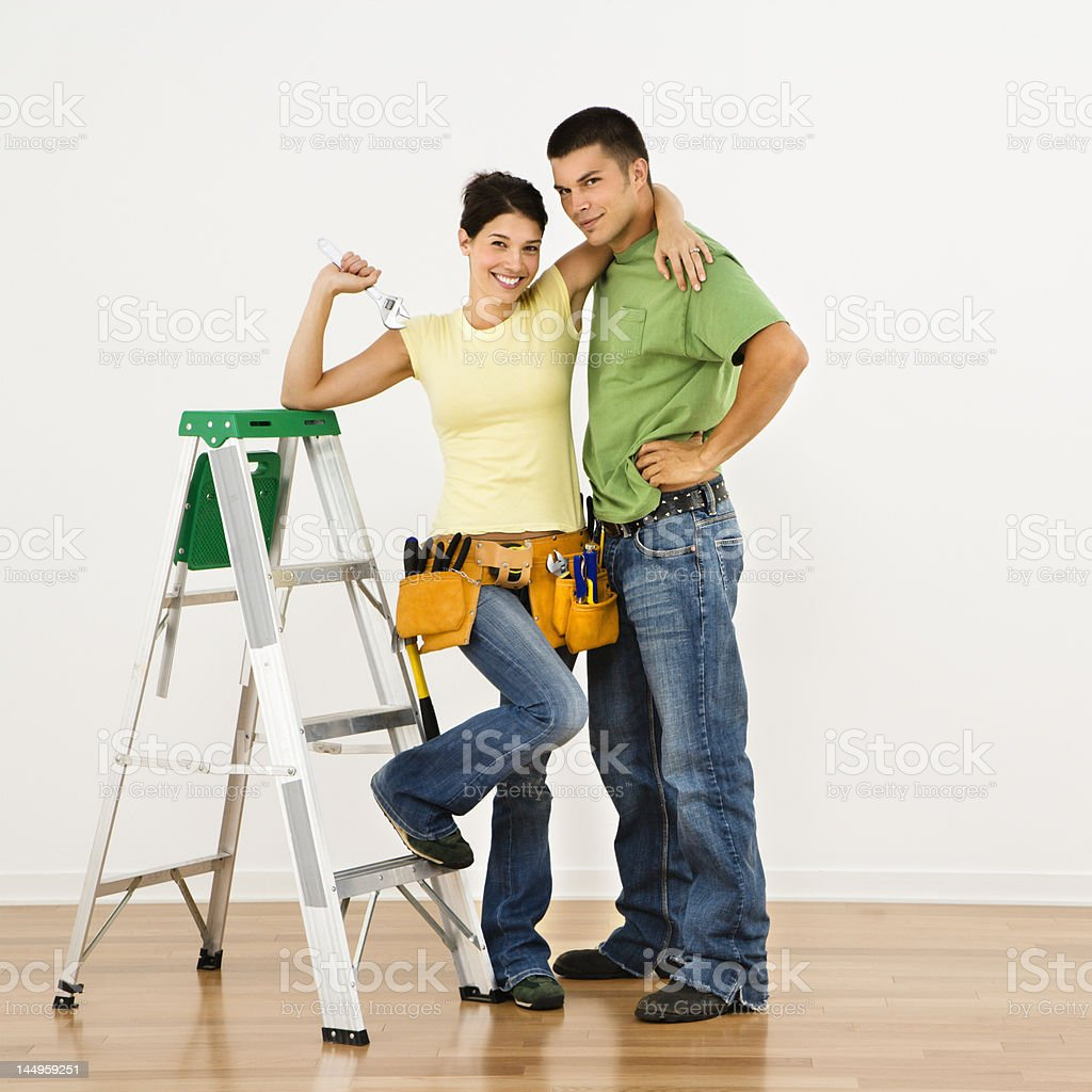 Couple remodeling home. royalty-free stock photo