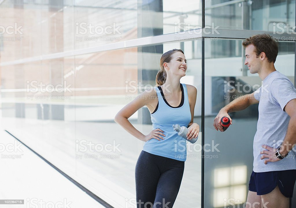 Couple resting after exercise royalty-free stock photo