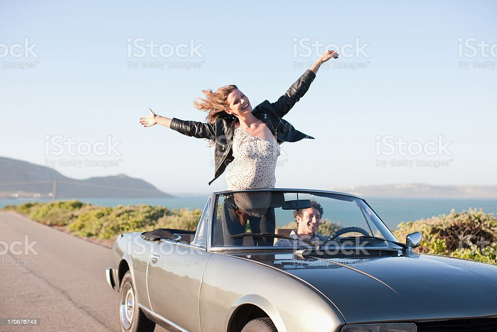 Couple riding in car  together royalty-free stock photo