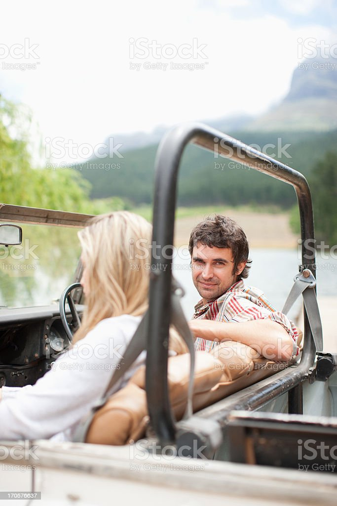 Couple riding in vehicle together royalty-free stock photo