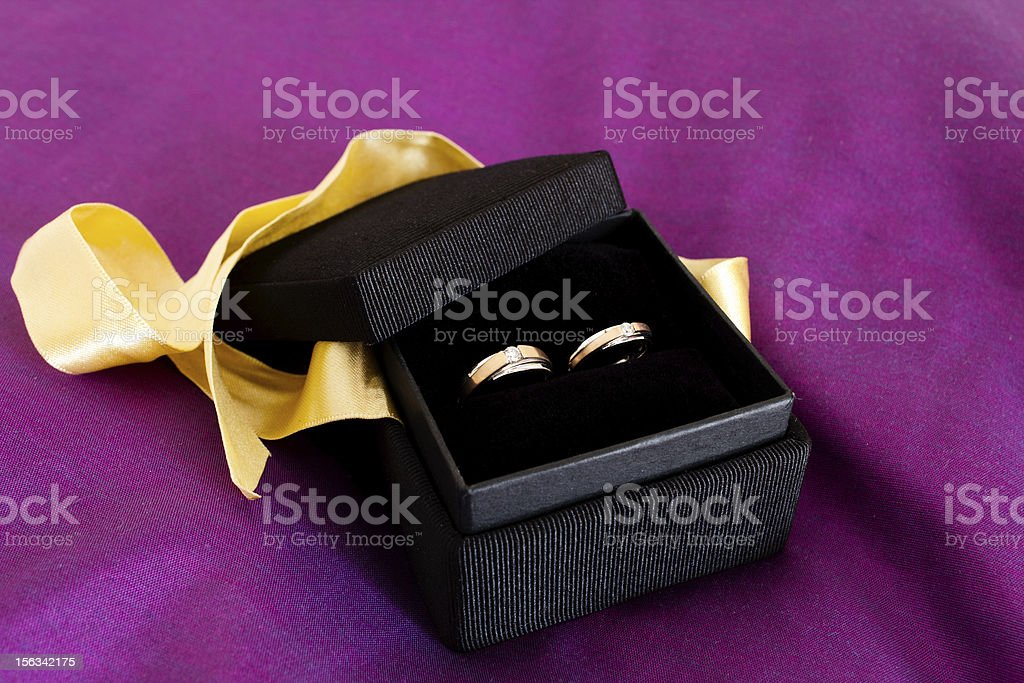 Couple ring in the black box royalty-free stock photo