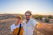 Couple selfie in the Namib desert, Namibia, Africa