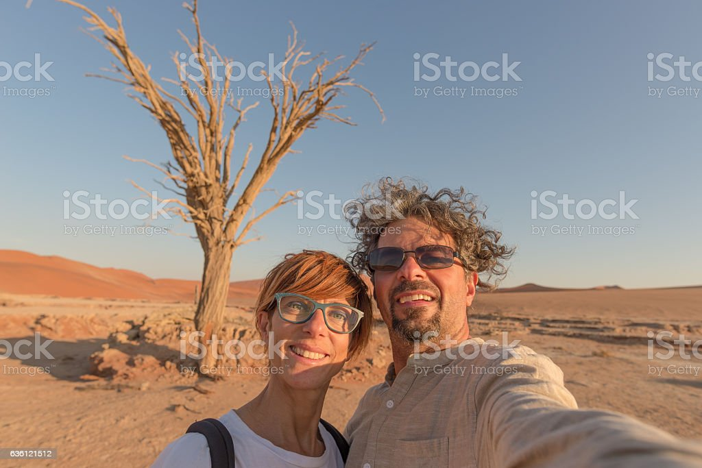Couple selfie in the Namib desert, Namibia, Africa stock photo