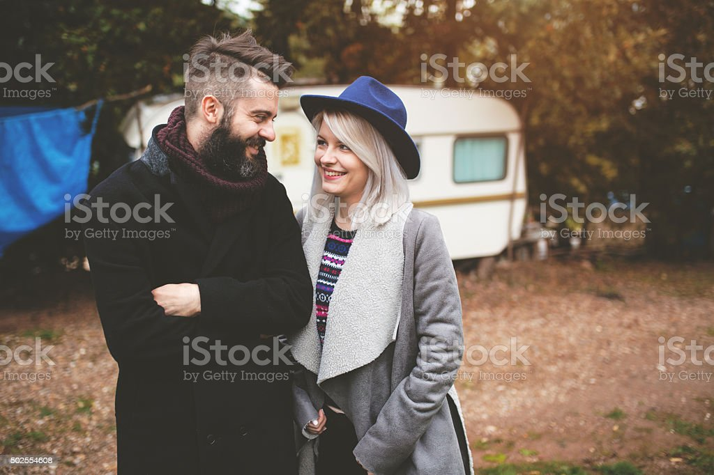 Couple sharing an intimate moment stock photo