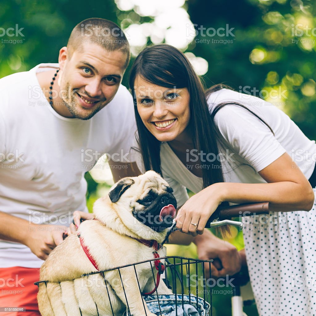 Couple sharing an intimate moment with pug-dog in the park stock photo