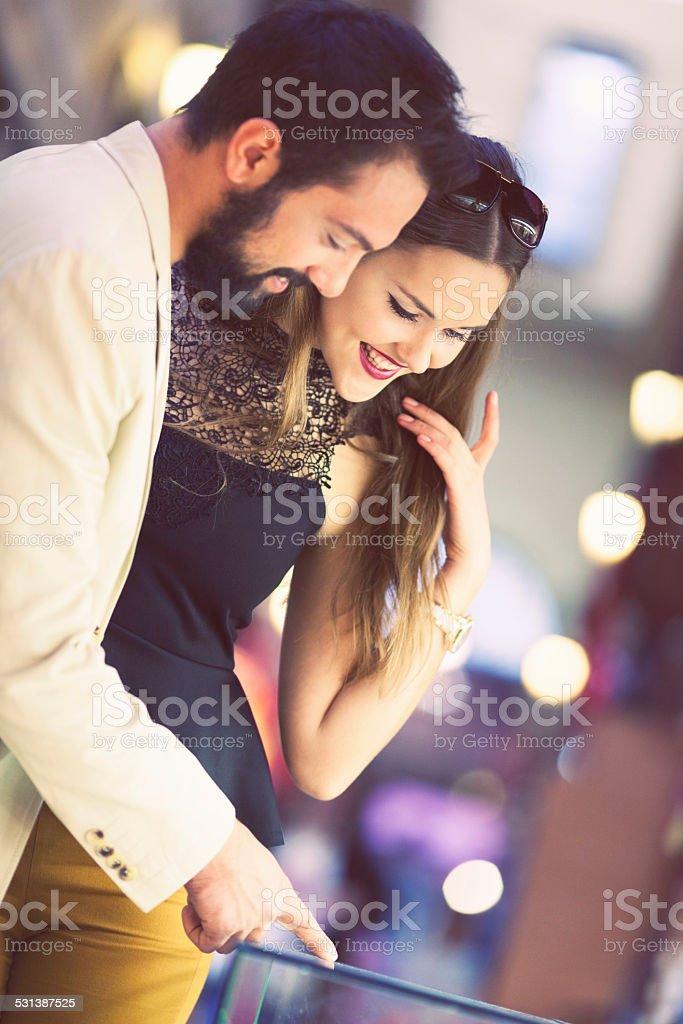 Couple shopping at the bazaar stock photo