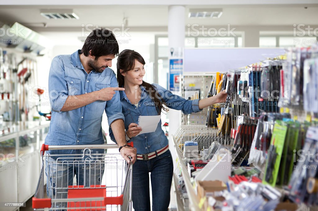 Couple shopping diy store stock photo