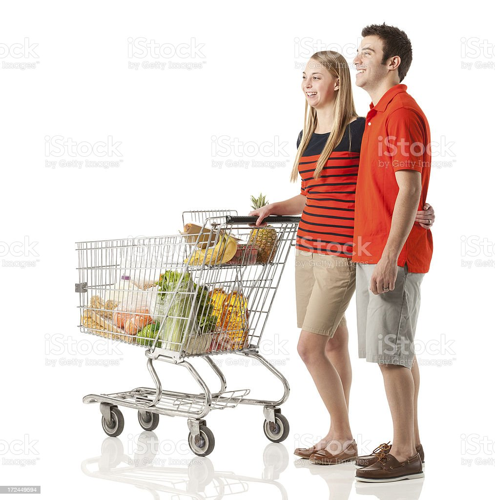 Couple shopping groceries royalty-free stock photo