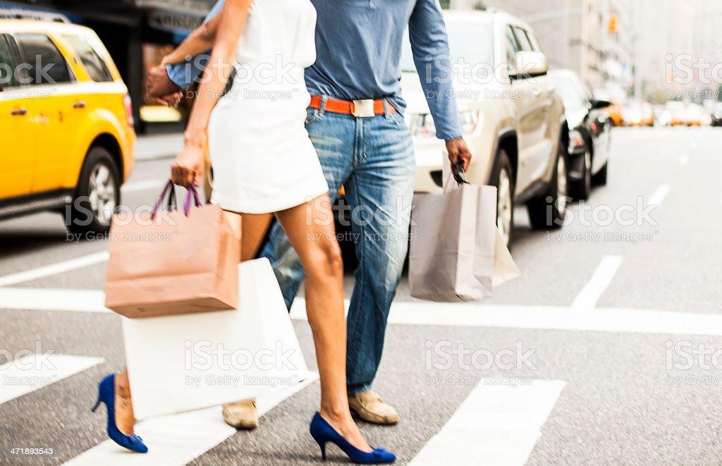 Couple shopping in NY royalty-free stock photo