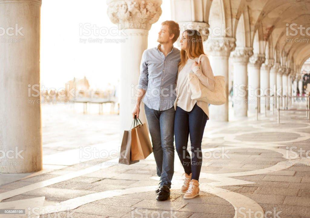 Couple shopping in Venice stock photo