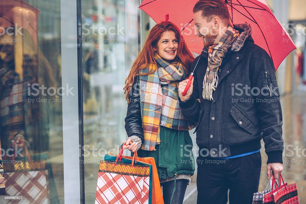 Couple shopping on vacation stock photo