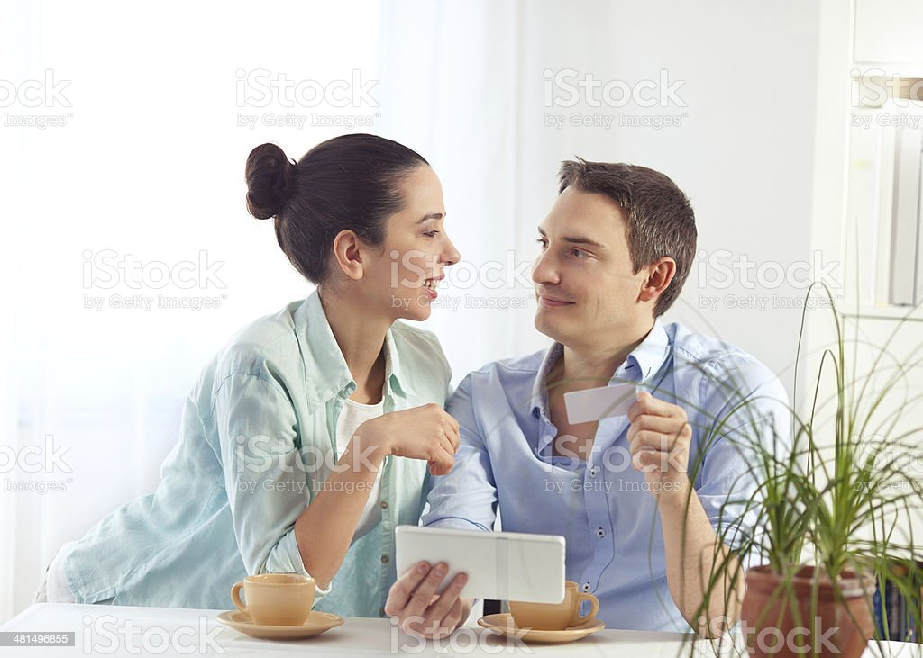 Couple Shopping Online royalty-free stock photo
