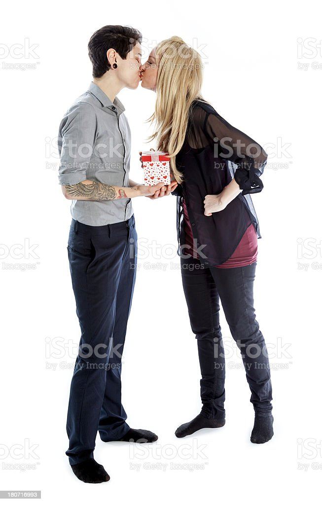 Couple shot in studio and isolated on a white background royalty-free stock photo