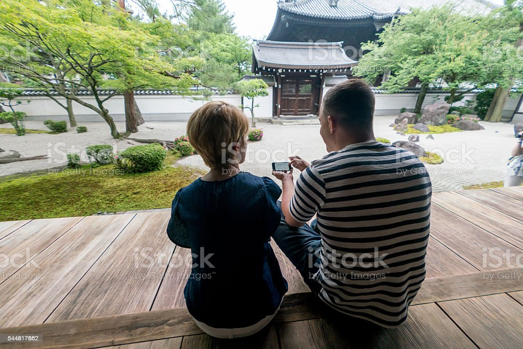 Couple sightseeing in Japan stock photo