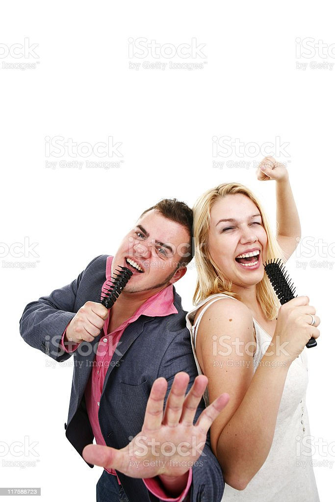 Couple singing together for fun royalty-free stock photo