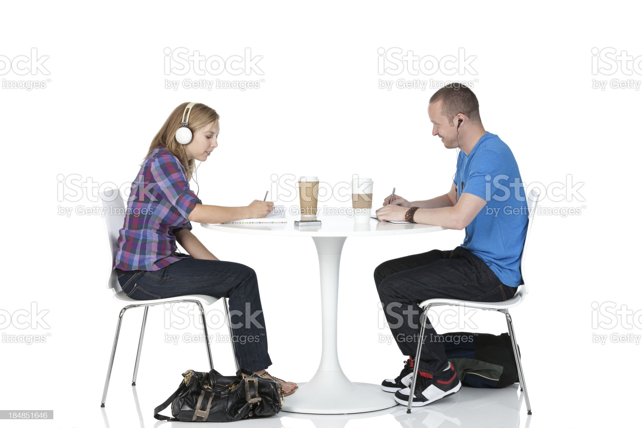 Couple sitting in a restaurant royalty-free stock photo
