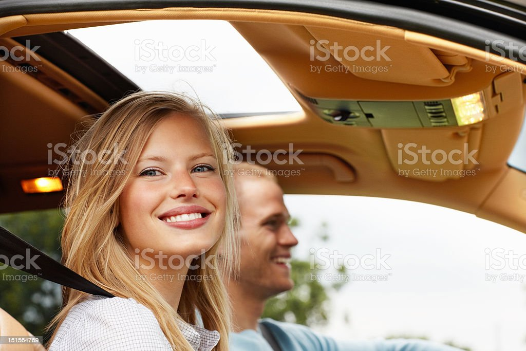Couple sitting inside a car royalty-free stock photo