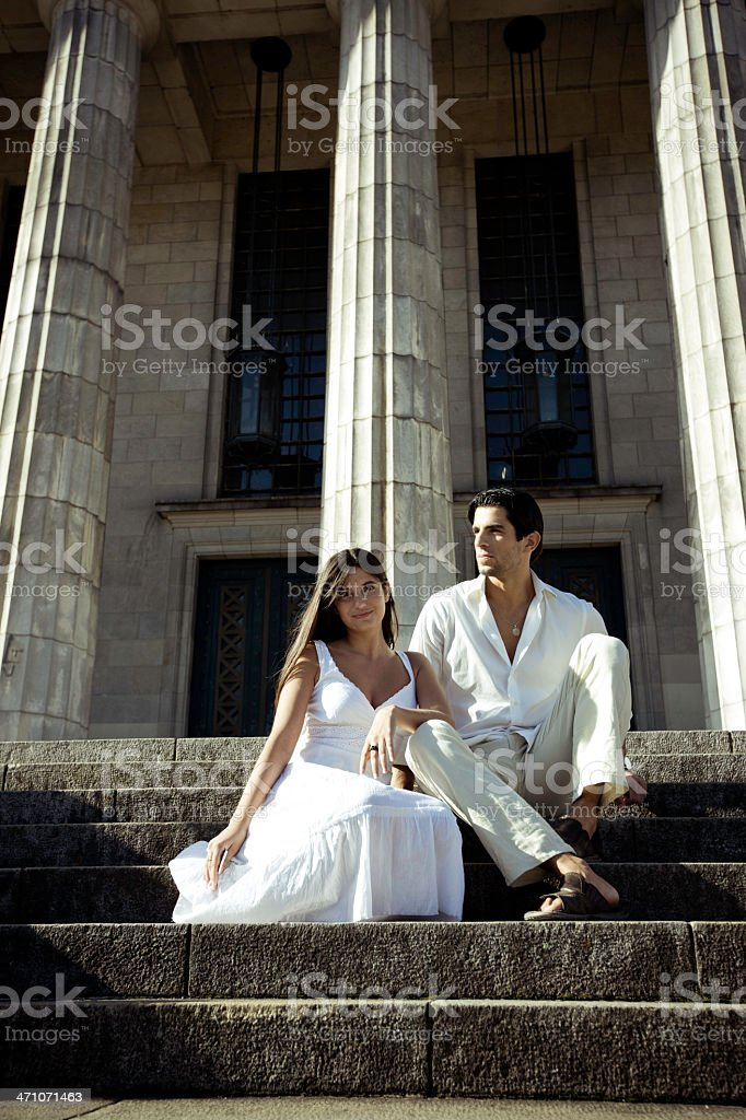 Couple sitting on the Steps royalty-free stock photo