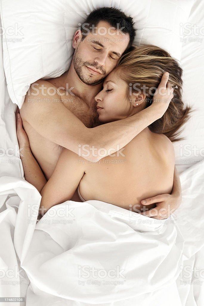 Couple sleeping royalty-free stock photo