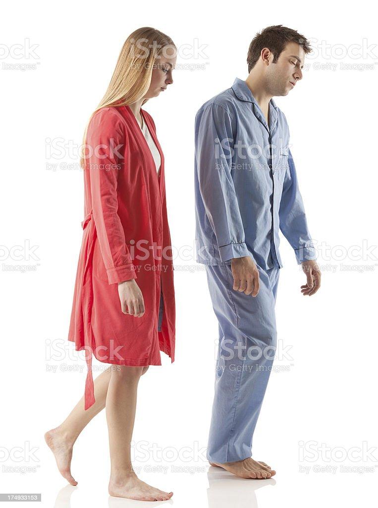 Couple sleepwalking stock photo