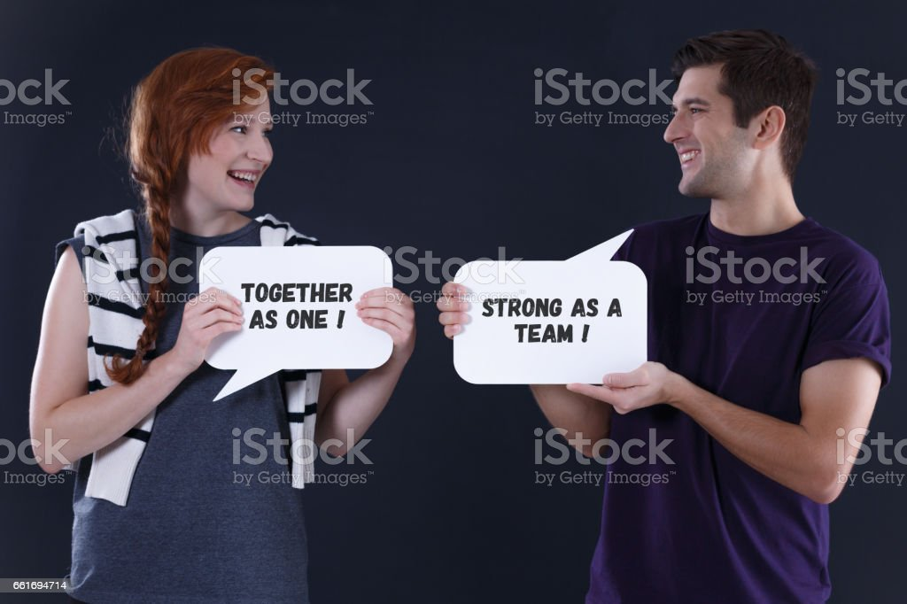 Couple smiling to each other stock photo