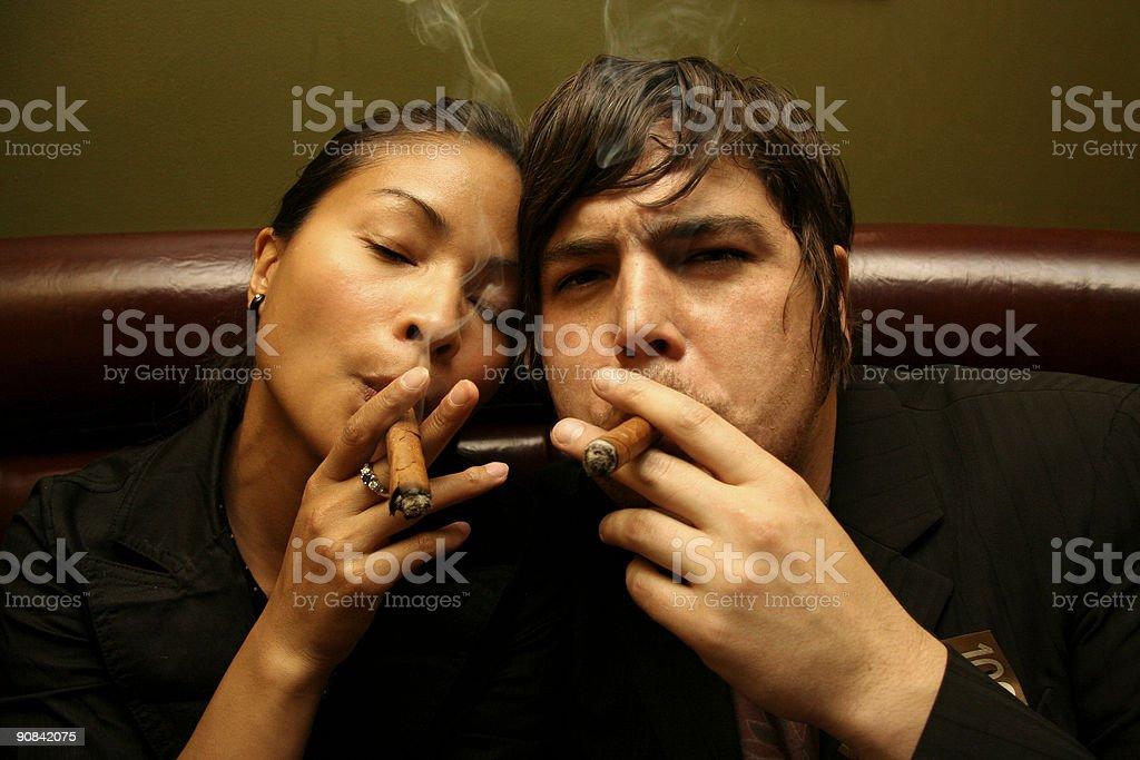 Couple Smoking royalty-free stock photo