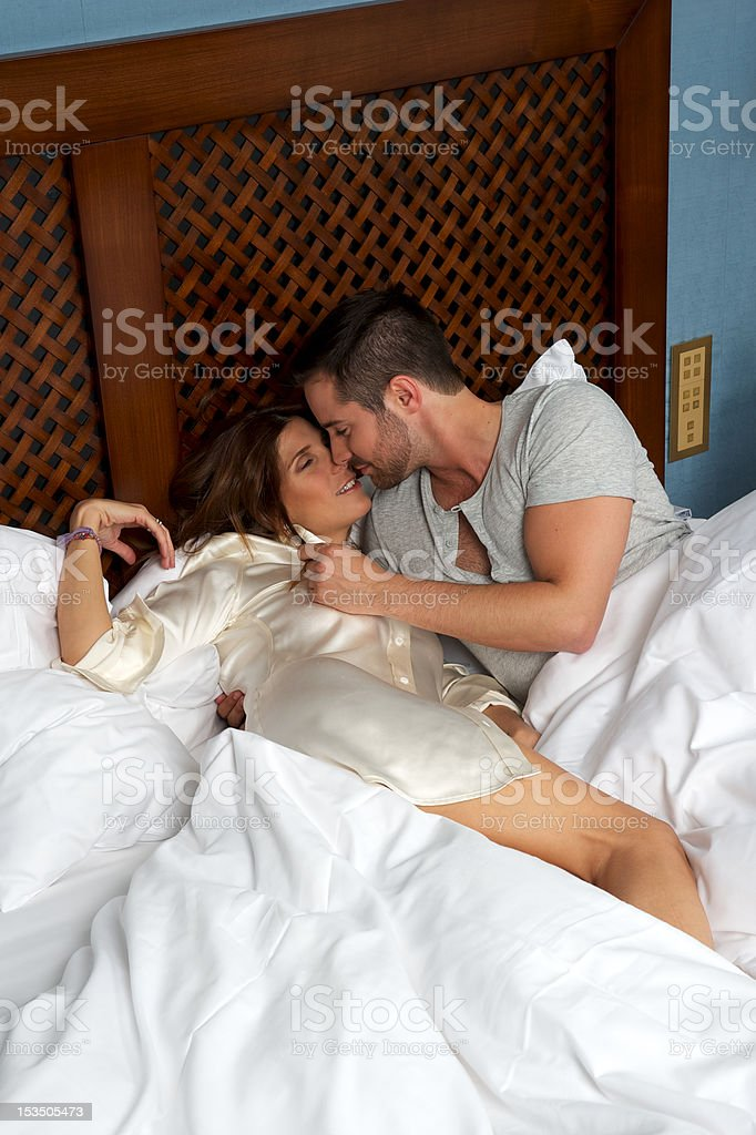 Couple smooching royalty-free stock photo
