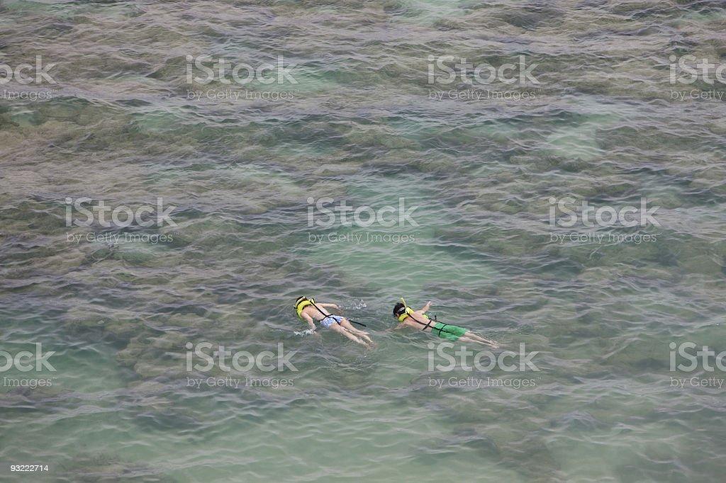 Couple Snorkeling at Hanauma Bay Nature Preserve, Oahu, Hawaii stock photo