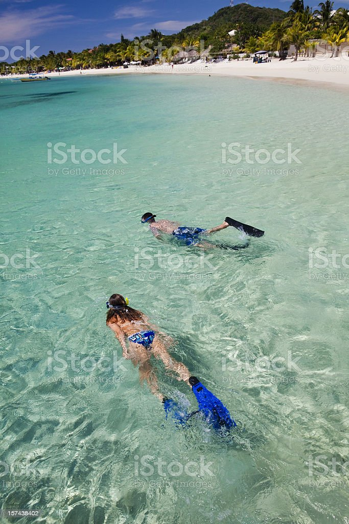 Couple snorkeling from tropical beach royalty-free stock photo