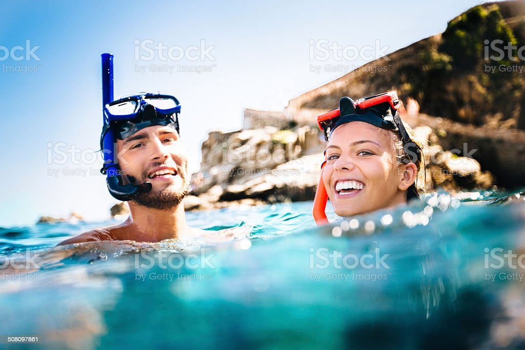 Couple Snorkeling stock photo