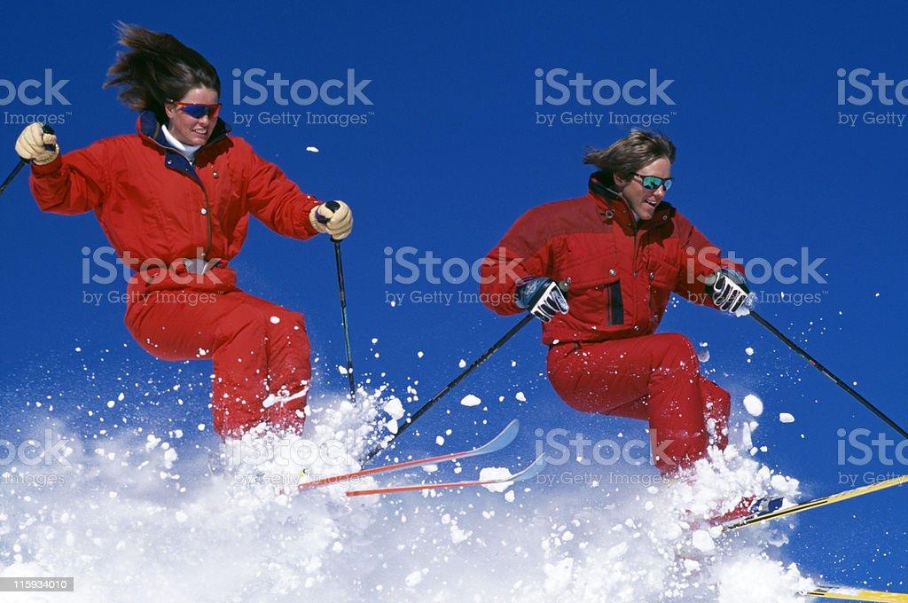 Couple Snow Skiing royalty-free stock photo