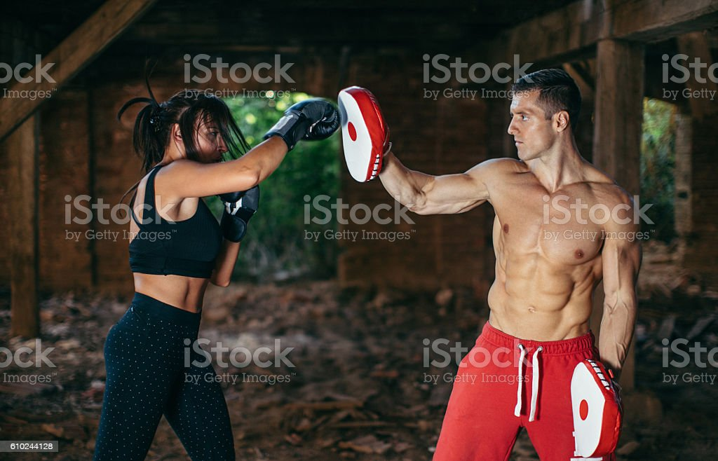 Couple sparring, boxing stock photo
