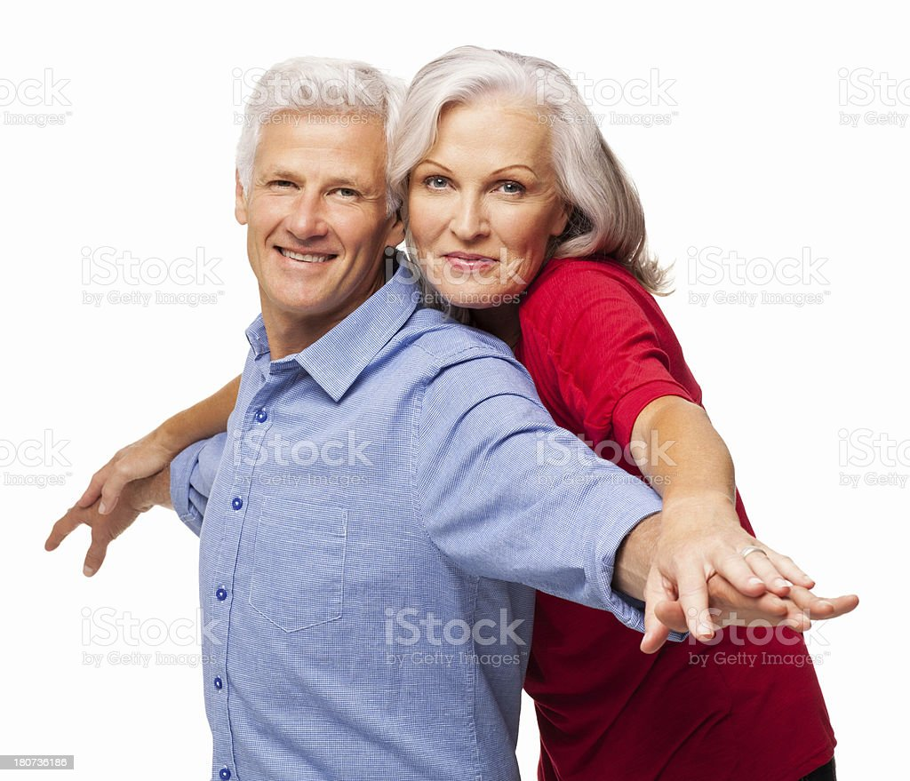 Couple Standing Together With Arms Outstretched - Isolated royalty-free stock photo
