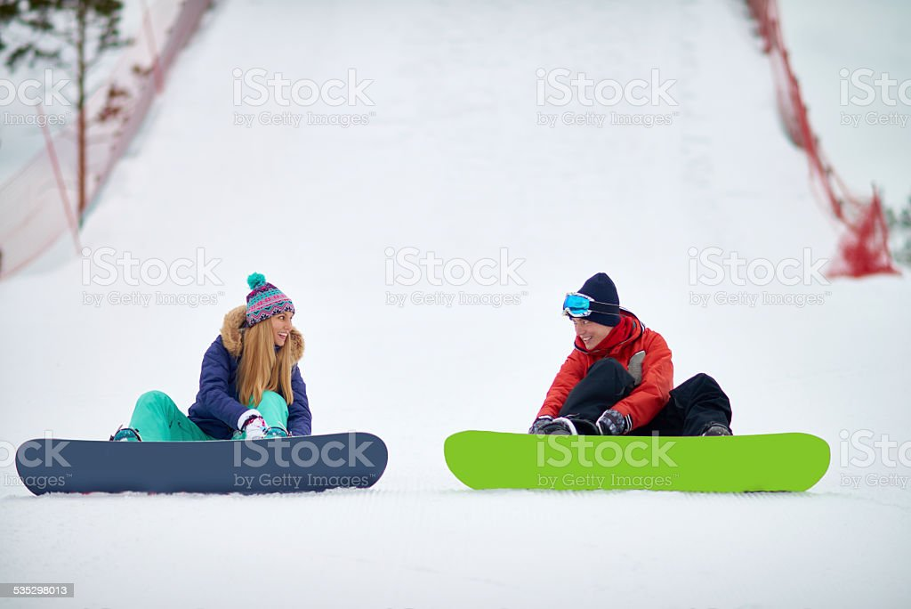 Couple strapping in stock photo